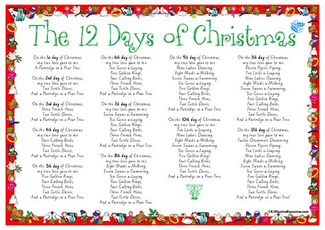 printable lyrics to 12 days of christmas 12 days of christmas song