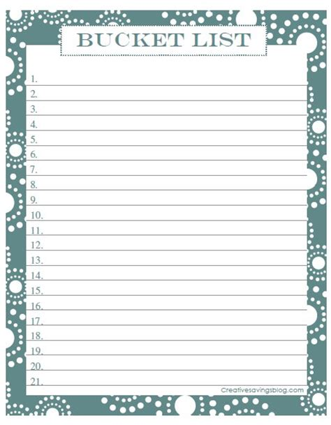 free bucket list printable creative savings