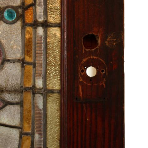Antique Stained Glass Doors For Sale Large 38 Antique Oak Front Door With Jeweled Stained Glass 1800 S Ned124 For Sale Antiques