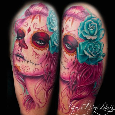blue and pink portrait tattoo day of the dead portrait pink by el dugi lewis