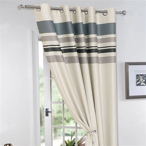 lined blackout curtains striped ring top lined pair eyelet ready made thermal