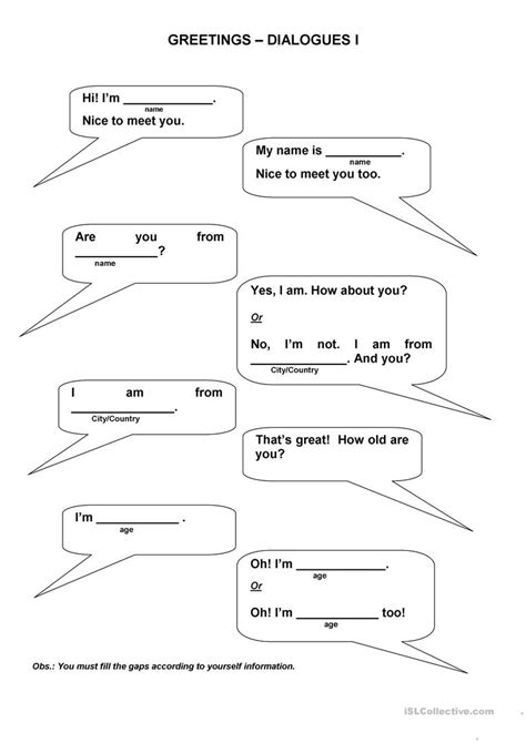 Dialogue Worksheets by Greetings Dialogues Worksheet Free Esl Printable
