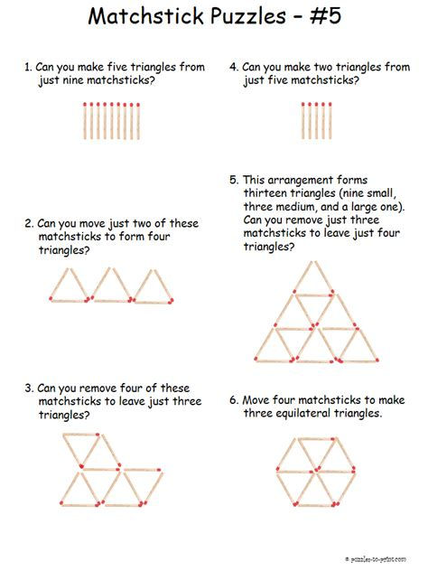 pattern math riddles triangle matchstick puzzles creative thinking triangles