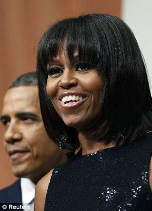 obama wife haircut michelle obama glitters in black cocktail dress as she