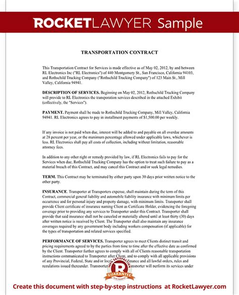 Agreement Letter For Transportation Transportation Contract Agreement Form With Sle