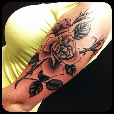 tattoo flower leaf rose tattoo blackandgray tattoo rose flowers leaves