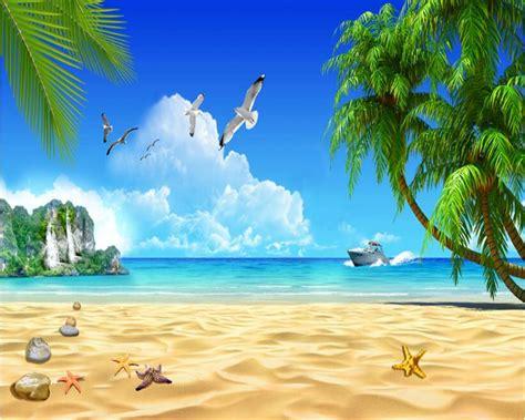 harga wallpaper awan beibehang 3d mode senior wallpaper pantai pohon kelapa