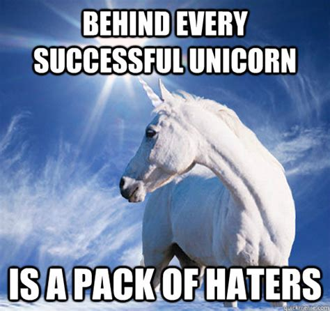 Unicorn Meme - behind every successful unicorn is a pack of haters