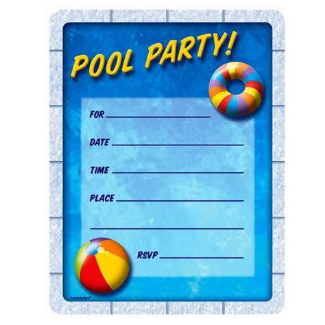 pool invitations templates free pool invitation ideas