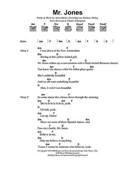 lyrics mr mr jones sheet by counting crows lyrics chords