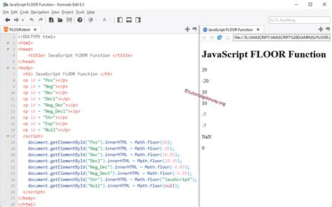 javascript floor function