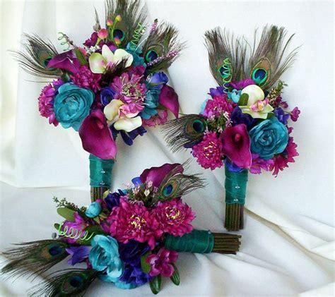 Fuschia Peacock Bouquet wedding accessories 2013 bridal