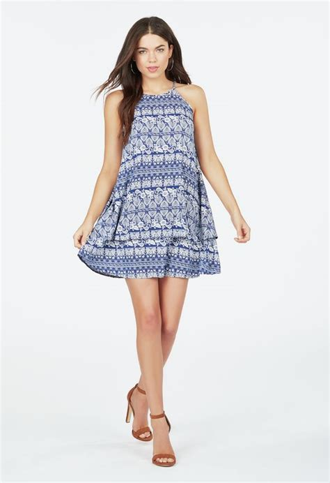 kleidung swing relaxed layered swing dress kleidung in blue multi