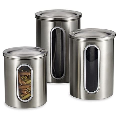 stainless kitchen canisters polder 174 brushed stainless steel window canisters set of 3 bed bath beyond