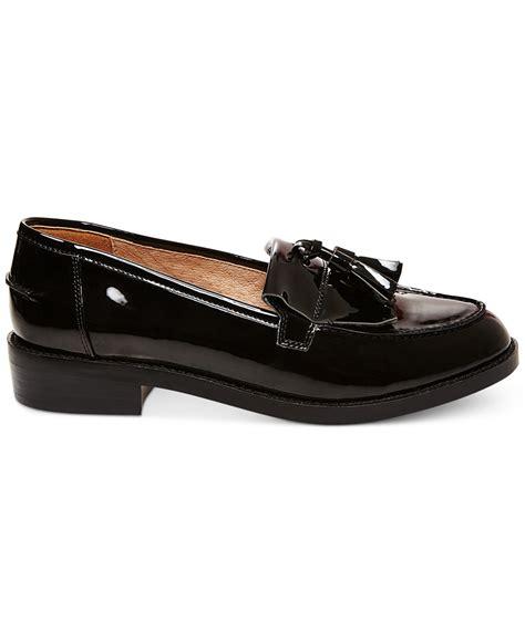madden loafers lyst steve madden s meela lug tassel loafer in black
