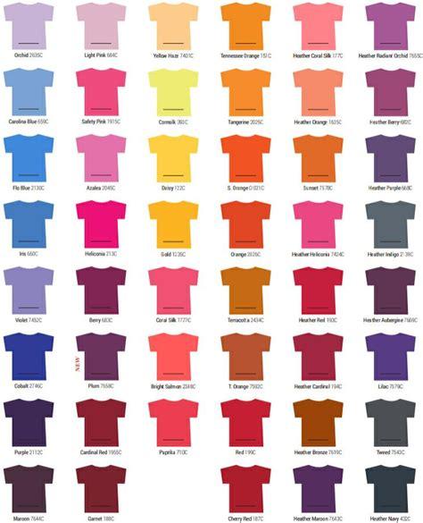 gildan shirt color chart tshirts on you color selections