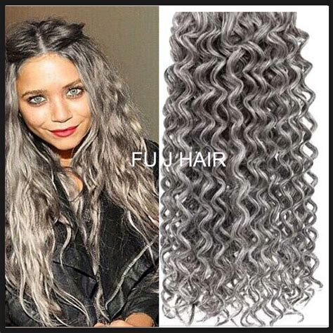 grey human hair extensions sale silver grey hair extensions 1pcs lot human grey