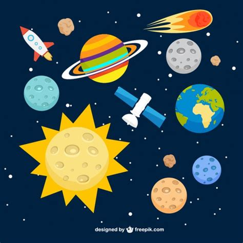ilustraciones de vectores de sol tierra luna espacio fondo del sistema solar descargar vectores gratis