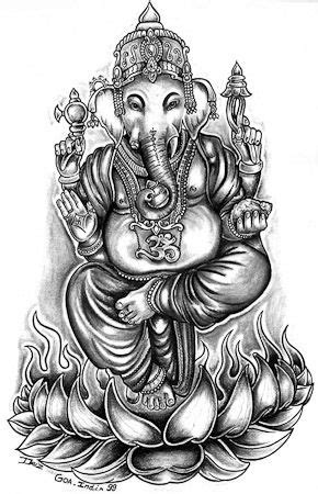 ganesha tattoo klein fantasy grey cartoon hindu god goddess om religious lotus