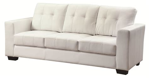 White Leather Tufted Sofa Smalltowndjs Com