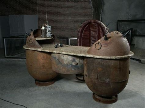 unique furniture design ideas recycling naval mines into decorative items in steunk style