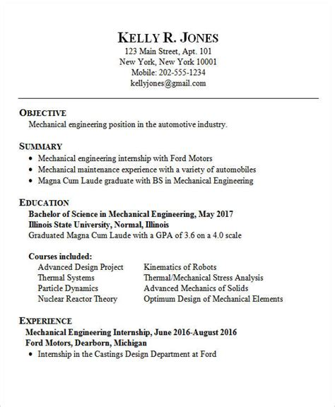 Mechanical Engineering Resume Template Entry Level by 25 Best Engineering Resume Templates Pdf Doc Free