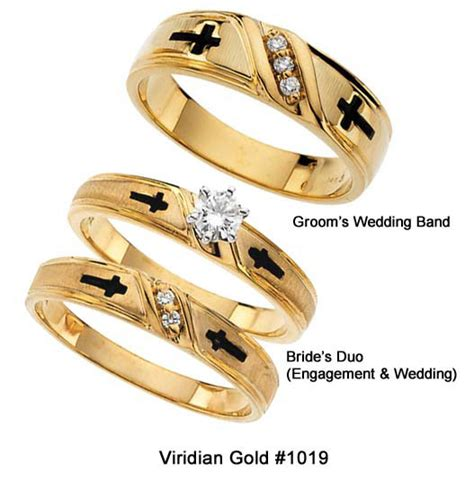 cross religious wedding rings in yellow gold 1019