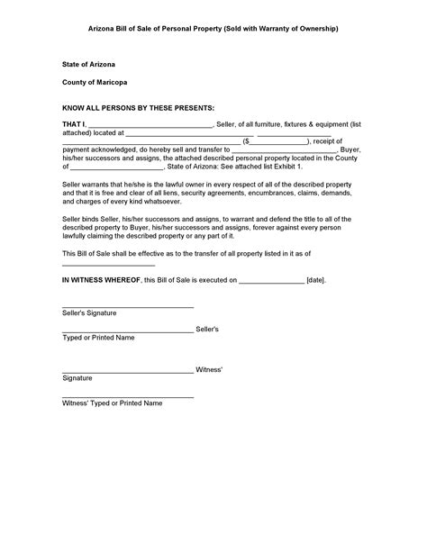 Personal Property Record Free Arizona Personal Property Bill Of Sale Form Pdf Docx