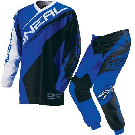 blue motocross gear oneal element 2016 racewear motocross kit lightweight