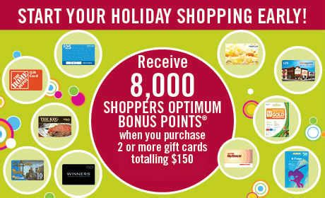 Optimum Gift Card Promotion - shoppers drug mart gift card promo 8000 bonus optimum points when you buy 150 in