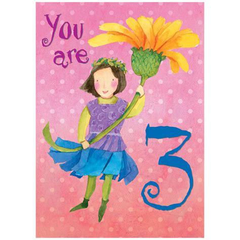 Three Year Birthday Card Eeboo Sweet Fairy 3 Year Old Birthday Card