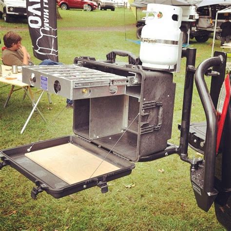 overland jeep setup at overland equipment kitchen box mounted to the aluminess