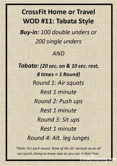 tabata tuesday crossfit home or travel wod 11
