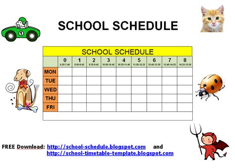 schedule for school printable template schedule for