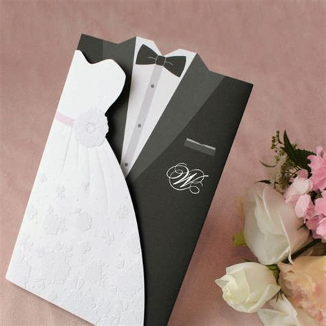 wedding scroll dress and tux card template 1sle set and groom wedding invitations dress and