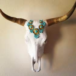 cow skull with turquoise headdress www etsy shop