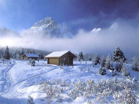 Snowy Cabins by Winter Wallpapers Cabin In The Mountains Wallpaper