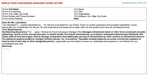 Concessions Manager Cover Letter by Food Concession Manager Cover Letter Sle