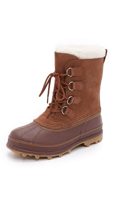 sorel caribou boots in brown for cinnamon madder