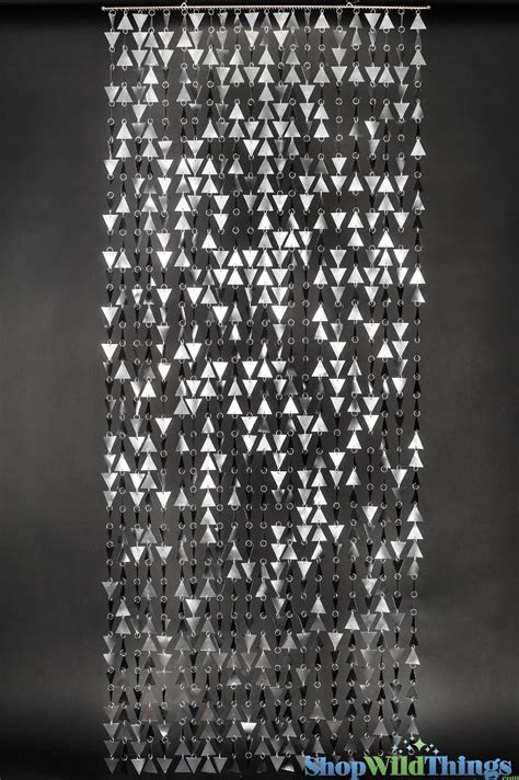 a beaded curtain beaded curtain geometric shapes large matte silver