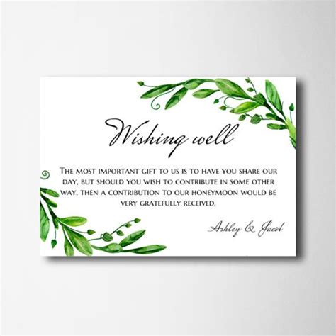 wishing well card template wishing well cards green wedding wishing well printable
