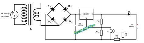 lm317 lead acid battery charger circuit battery charger circuit with indicator current