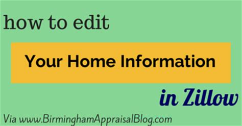 how to edit your home information in zillow birmingham