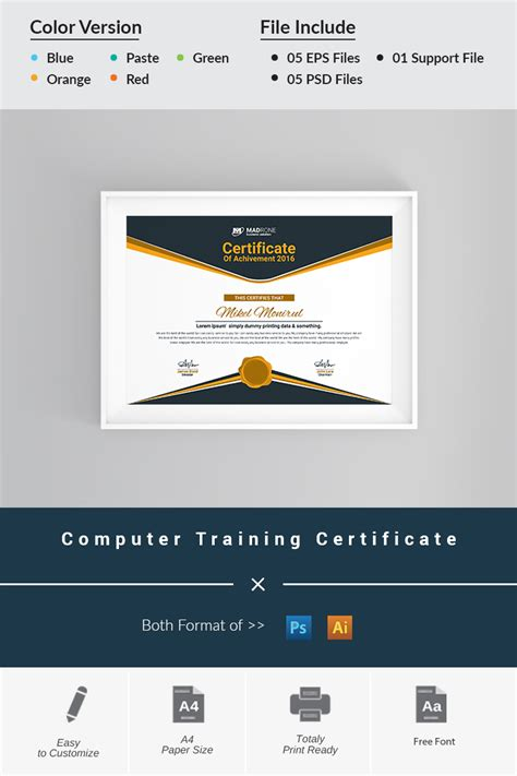 free course completion certificate template in adobe photoshop