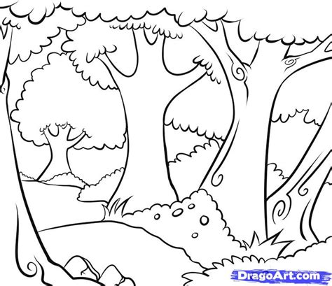 How To Draw Woods Step By Landscapes Landmarks &amp Places FREE  sketch template