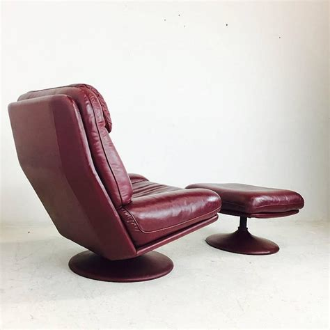leather swivel chair and ottoman leather lounge swivel chair and ottoman by de sede for