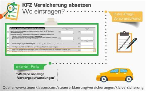 Auto Steuer Absetzen by Wie Gebe Ich Die Kfz Versicherung In Der Steuer An