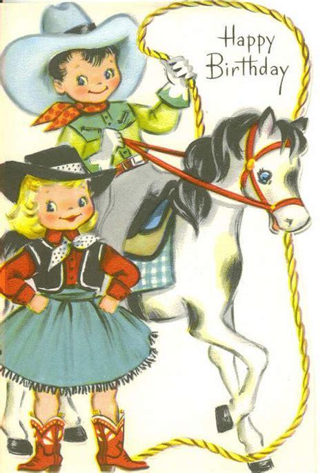 vintage birthday card cowboy  cowgirl  thevintagegreeting vintage birthday cards vintage