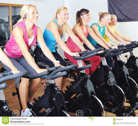 Spinning Bike Sport Id 9 2n beautiful doing exercise in a spinning class royalty