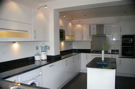 Black Gloss Kitchen With White Worktops by Dovetail Kitchens 100 Feedback Kitchen Fitter In Widnes